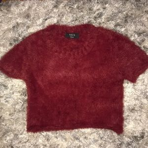 Ruby Red Soft Sweater Short Sleeve Crop Top, sz S